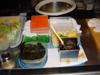 Garnitures pour sushis: nori, laque, oeufs de saumon, etc