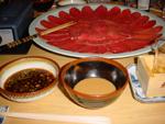 Fondue Shabu-Shabu: Tranches de boeuf & sauces