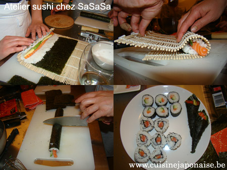 Atelier Sushi à l'école SaSaSa :: préparation des maki-sushis