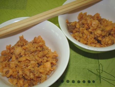Emieté de saumon - Présentation dans les bols