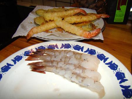 Tempura: préparation des crevettes