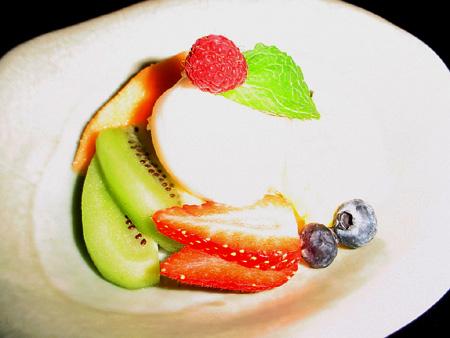 Menu au Samourai - Dessert - Glace vanille et fruits frais