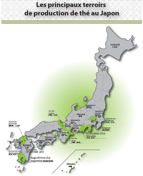 Carte des terroirs de thés japonais